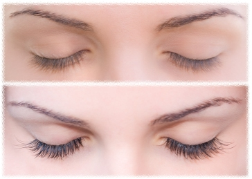 Close Beautiful eyes with natural eyelashes to and false eyelashes after